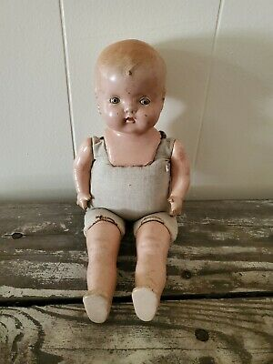 $12.55 • Buy Vintage COMPOSITION DOLL Cloth Body CREEPY HALLOWEEN DECOR Maybe Haunted 14 In