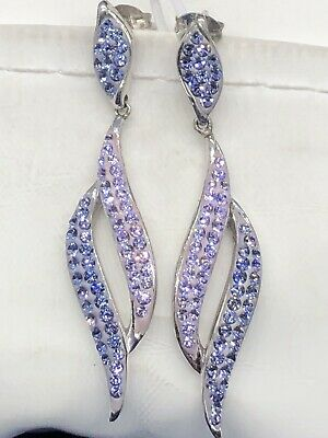 $20.50 • Buy Artistique Sterling Silver Crystal Lavender Drop Earrings