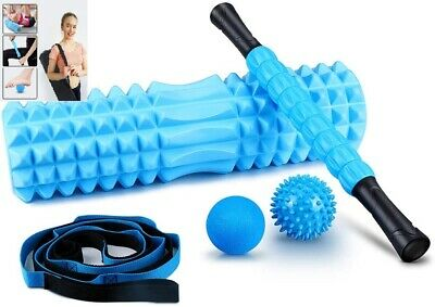 AU44.38 • Buy 5 In 1 Foam Roller Set Includes Hollow Core Massage Roller Spikey Stretch Strap