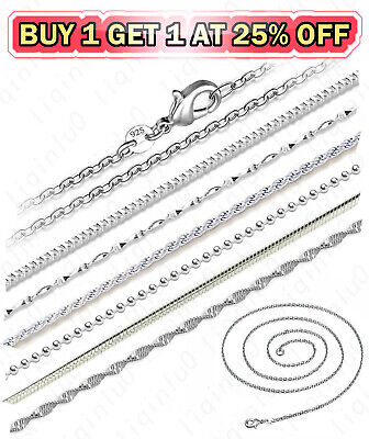 $0.99 • Buy 925 Sterling Silver Diamond Cut Rope Snake Rolo Link Chain Necklace 16-24 Inch