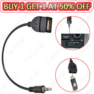 $3.08 • Buy AUX Audio Plug Jack To USB 2.0 Female Converter Cable Adapter Cord Car MP3 Phone