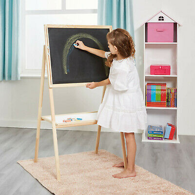 Kids Height Adjustable & Double-Sided Easel Black/White Board + Accessories • 28.95£