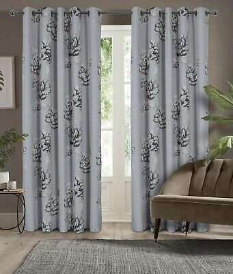 Tivoli Floral Print Ring Top Black Out Curtains - Choice Of Colour & Sizes • 10£