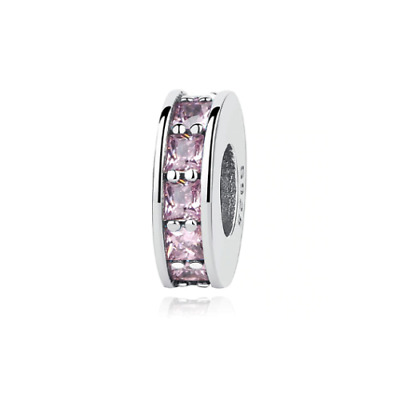 AU22.99 • Buy SOLID Sterling Silver Pink Crystal Eternity Spacer Charm By Pandora's Wish