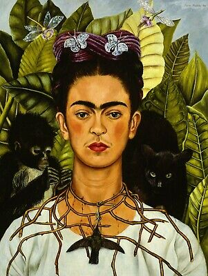 £20 • Buy Frida Kahlo Thorn Necklace 1940 Stretched Canvas Wall Art Poster Print Painting