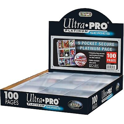 Ultra Pro 9-pocket Trading Card A4 Sleeves Secure Platinum Series Pages 10 - 100 • 8.99£