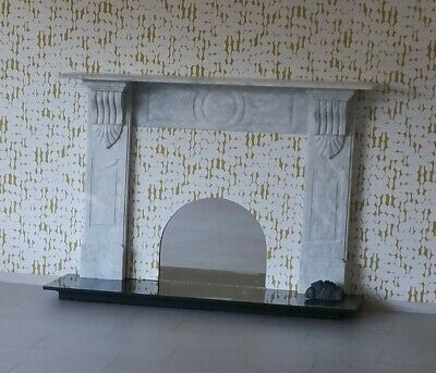 *bargain* Victorian Style Hand Carved(?) Marble Fireplace & Black Marble Hearth • 55£
