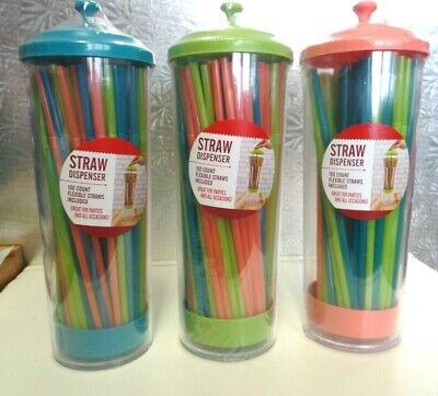 $6 • Buy Straw Dispenser--100 Count Flexible Straws Included--sealed Container
