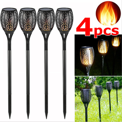 4 X Solar Garden Flame Light Flickering LED Torch Lamp Waterproof Landscape Lamp • 12.99£
