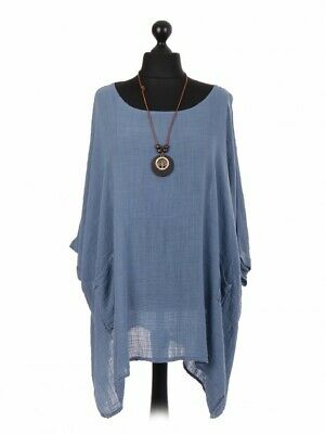 New Italian Ladies Plain Cotton Womens Lagenlook Tunic Batwing Top With Necklace • 15.99£