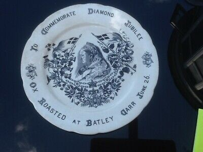 Antique Queen Victoria Diamond Jubilee Plate 1897-Ox Roasted At Batley Carr • 14.99£