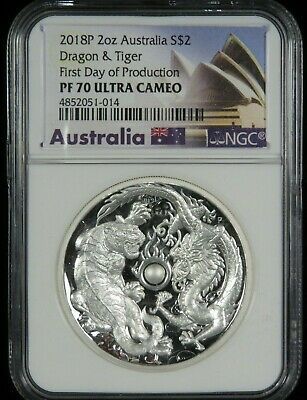 $299 • Buy 2018 Australia $2 Silver 2 Oz Tiger & Dragon High Relief NGC PF 70 Ultra Cameo