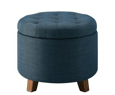 $86 • Buy Ottoman Storage Round Tufted Foot Stool Seat Contemporary Blue/Navy Fabric