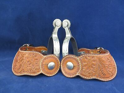 $174.99 • Buy Pair Of Kelly Single Mounted Spurs With Hand Tooled Maker Marked Straps