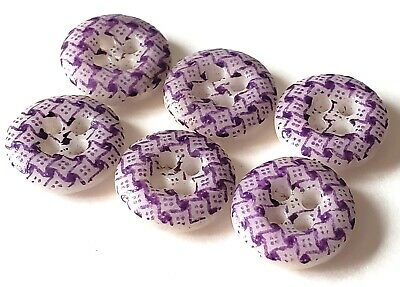 $45 • Buy Set Of 6 Matching Purple Antique China Calico Buttons