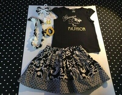 $58.50 • Buy Gymboree Yellow And Black Bee Chic Top Skirt Jewelry Hair 5 EUC NWT Set Lot