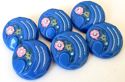 $25 • Buy Set Of 6 Adorable Vintage Painted Glass Buttons…Blue With Pink Flowers…11/16