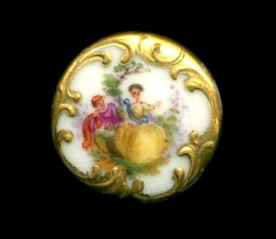 $28 • Buy Antique Button…Very Pretty Hand Painted Porcelain Couple W Fancy Gold Border