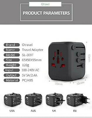 AU21.99 • Buy *NEW*International Travel Power Adapter With 3 USB +Type C Fast Charger- So Safe