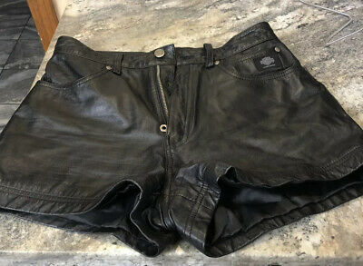 $45.59 • Buy HARLEY DAVIDSON Womens High Waisted Black LEATHER Riding Shorts Size 38/10 Biker
