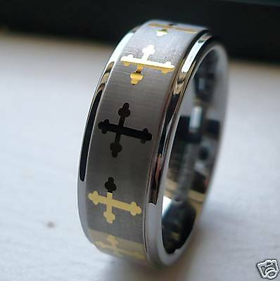 $17.99 • Buy 8mm Men's Tungsten Carbide Two Tone Band Ring With Celtic Crosses/ Size 7-12