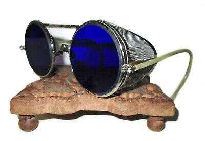 $249.99 • Buy Antique Cobalt Blue Willson Sunglasses Goggles Vtg Old Steampunk Safety Glasses