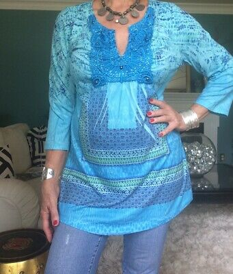 $3.99 • Buy LARGE, LIVE AND LET LIVE, Turquoise, Heavy Lace, Studded Front, Top