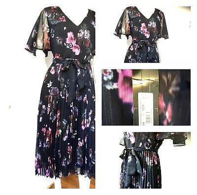 50s Pinup Girl Bettie Page Style Full Skirt Dress Navy/blue Floral UK10 Mad Men • 79.99£