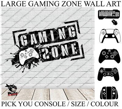 XBOX PS4 GAMING ZONE Vinyl Wall Stickers Childrens Den Bedroom Gaming • 8.99£