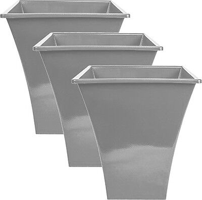 3 X Silver Large Plant Pots Planters Indoor Outdoor Garden Tall Plastic Planter • 14.99£