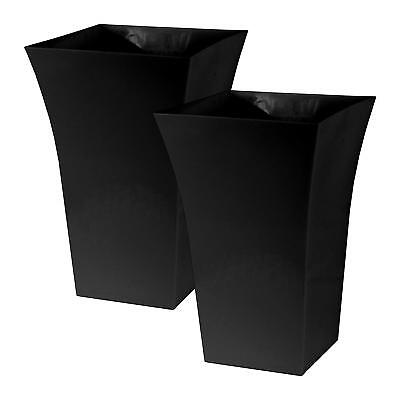 £13.99 • Buy 2 X Black Large Plant Pots Square Tall Plastic Planters Indoor Outdoor Garden