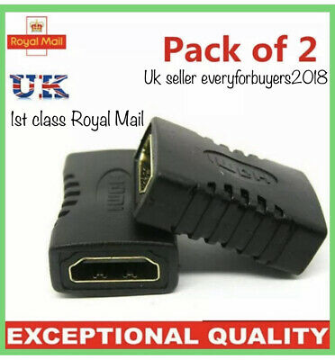 2 HDMI EXTENDER FEMALE TO FEMALE COUPLER ADAPTER JOINER CONNECTOR For 1080P/4K • 2.89£