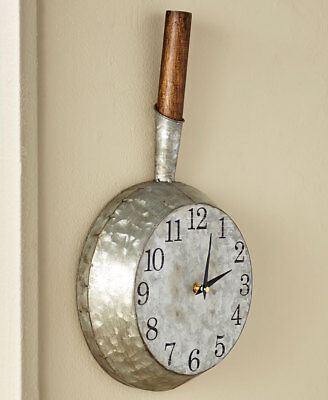 Farmhouse Frying Pan Wall Clock Galvanized French Country Pan Skillet Wall Clock • 31.40£