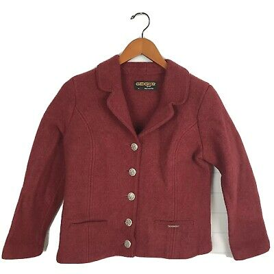 $32.83 • Buy Geiger Of Austria Jacket Size 45 Red Boiled Wool