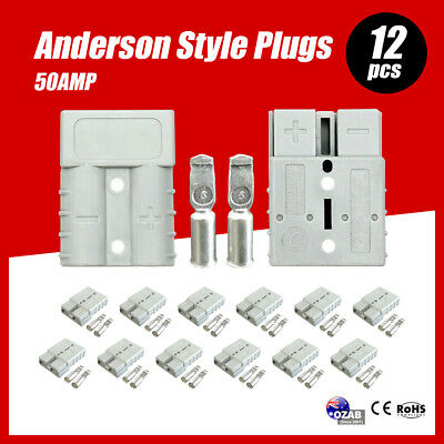 AU16.99 • Buy 12 X Anderson Style Plug Connectors 50 AMP 12-24V 6AWG DC Power Tool AU Stock