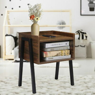 Bedside Table End Table Retro Rustic Chic Bedroom Nightstand Vintage Style • 30.99£