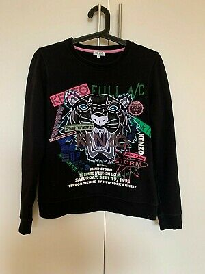 AU132.50 • Buy Kenzo Black Tiger Embroidered Cotton Jumper Size Small / Size 8