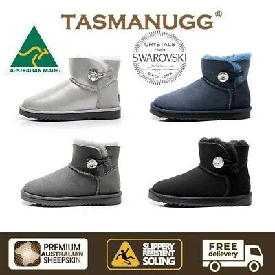 AU49 • Buy TASMAN UGG- Mini Ankle SWAROVSKI Crystal Button Boots, Australia Made 3351