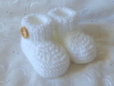 Newborn Baby White Hand Knitted Crochet Cuffed Button Shoes Socks Booties  • 5.99£