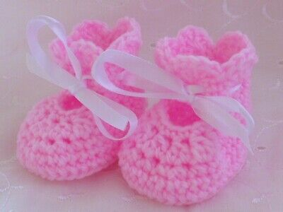 Newborn Pink Hand Crochet Knitted Shoes Bootees Booties Baby Gift Reborn • 4.99£
