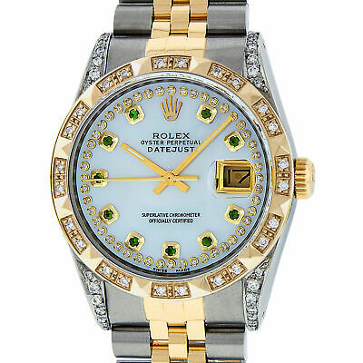 $ CDN12344.02 • Buy Rolex Mens Datejust Watch S-Steel - 18K Yellow Gold MOP Diamond And Emerald Dial