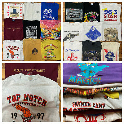 $ CDN85.52 • Buy Lot Of 20 Vintage Graphic T Shirts Men's Various Size Mostly 90's Used SS Bundle