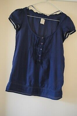 AU10 • Buy Pull And Bear Short Sleeve Blouse, Semi Sheer Cotton, Scoop Neck, Size XS