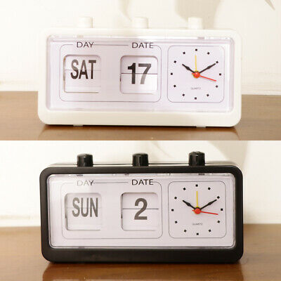 £9.62 • Buy Retro Table Auto Flip Clock Non-ticking Calendar Clock With Day Date Display