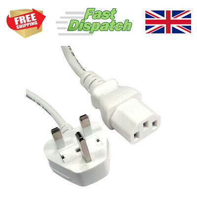 Arctic White Power Cord Lead UK Plug To 3 Three Pin IEC C13 Cable Kettle Lead • 6.99£