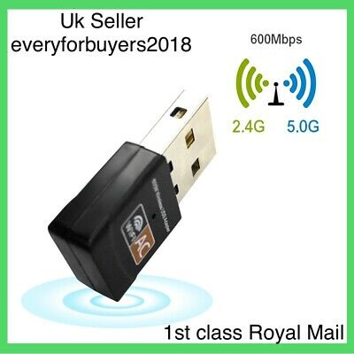 USB WiFi Dongle 802.11 AC 600Mbps Wireless Network Adapter For Laptop LAN Pc UK • 6.99£