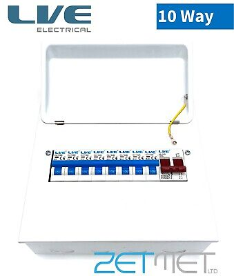 10 Way Metal Clad Consumer Unit 100A Main Switch Board Amendment 3 With 8 MCB's • 46.95£