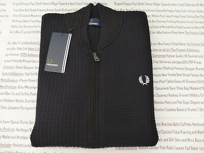 £94.99 • Buy FRED PERRY Bomber Cardigan Mens Black Textured Size M-XXL Zip Top BNWT R£125