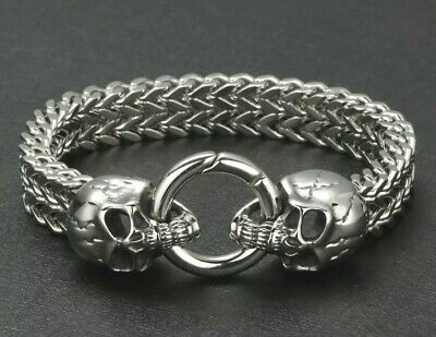 Mens Silver Viking Bracelets For Men Solid Skull Wolf Chain Link Punk Biker Uk  • 24.77£
