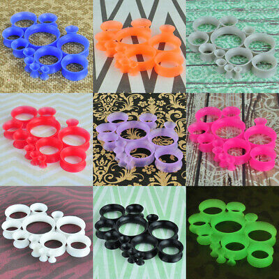 $4.99 • Buy Pair-ultral-thin-flesh-tunnels-silicone-ear-gauges-ear-expander-plugs-piercing